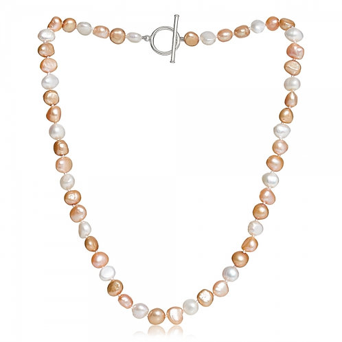 Pink, Champagne + White Pearl Necklace