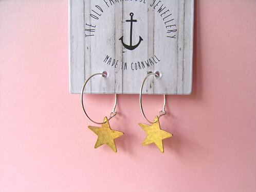 Old Farmhouse Silver Hoop Brass Star Charm Earrings