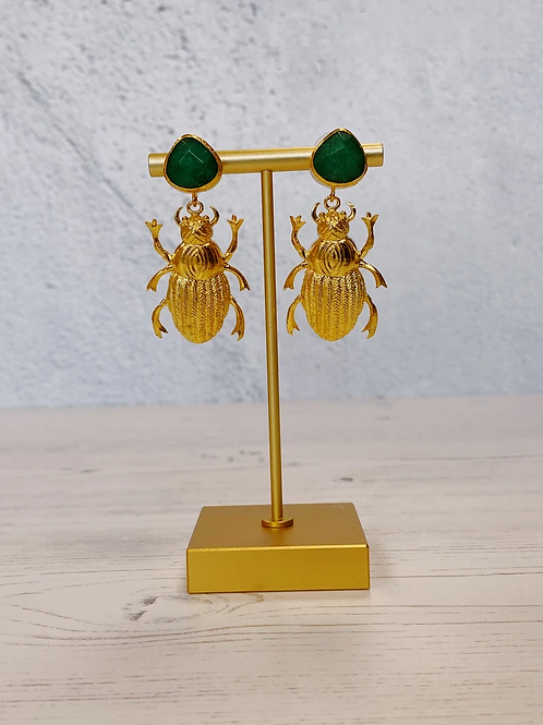 Jade Green Beetle Earrings