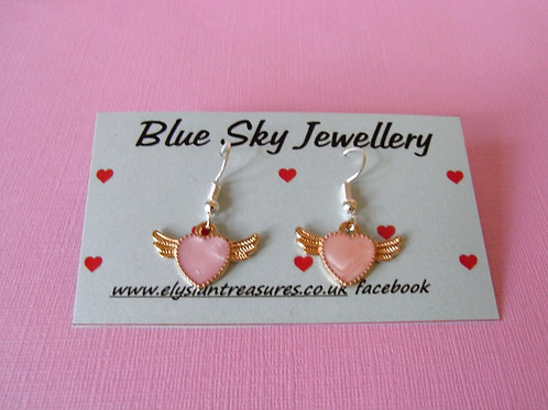 Blue Sky Pink Winged Heart Jewellery