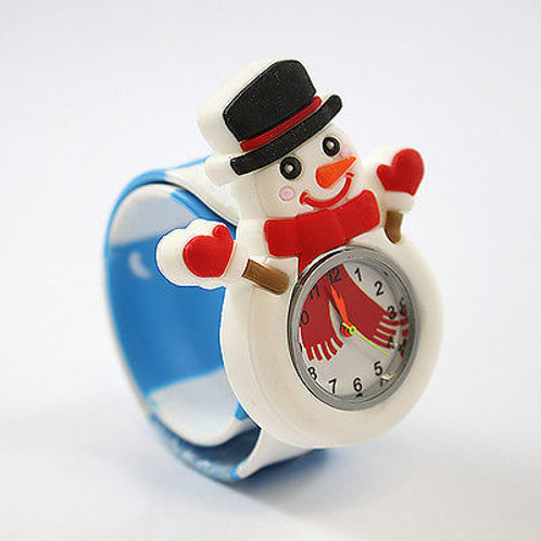 Snowman Popwatch Snap On Slap Watch