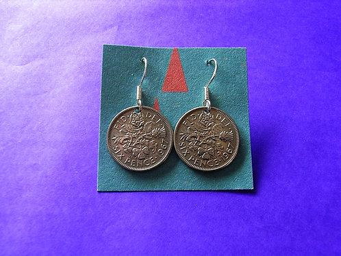 1967 Sixpence Coin Earrings