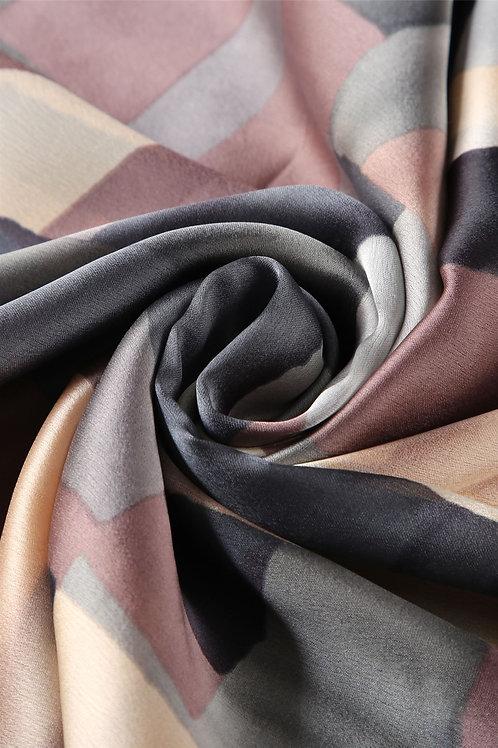 Block Colour Patchwork Silk Scarf   100% Silk