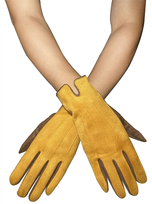 Two Tone Suede Effect Mustard Touchscreen Gloves