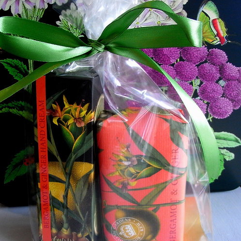 Kew Gardens Bergamot and Ginger Soap +Hand Cream Duo