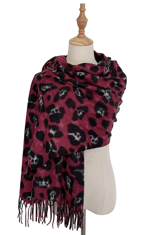 Pink Leopard Wool Mix Scarf with Tassels