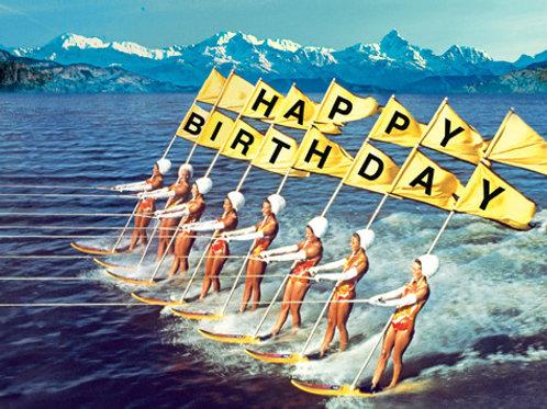 Water Skiers Birthday Card