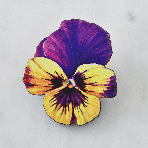 Esoteric Purple/Yellow Pansy Brooch