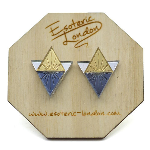 Esoteric Blue/Gold Sunburst Earrings
