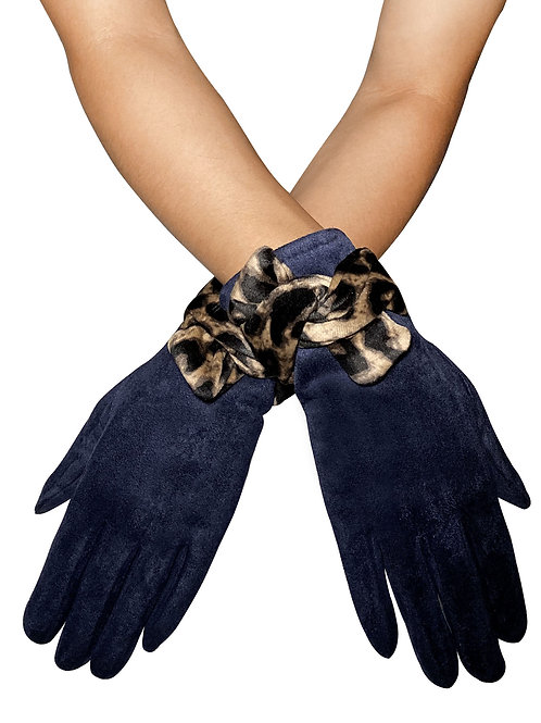 Navy 'Suede' Style Touchscreen Gloves with Leopard Print Bow