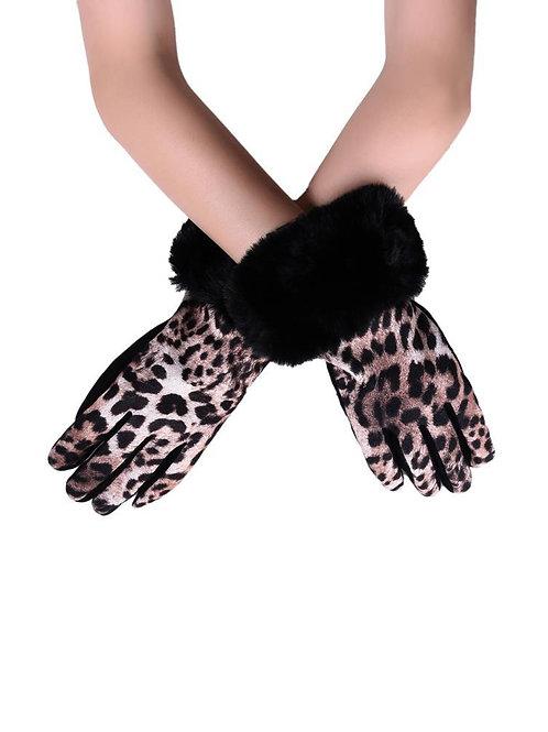 Beige Faux Fur Trim & Leopard Print Touch Screen Gloves