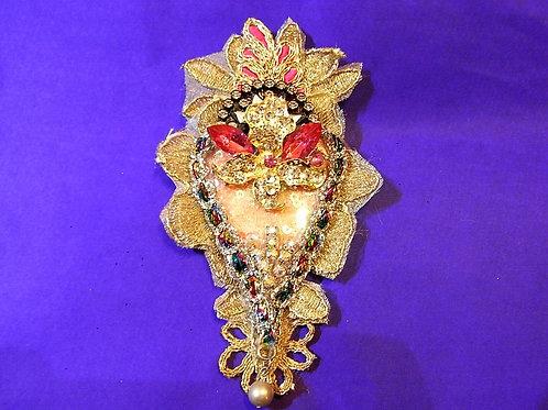 Vintage Gold & Pink Sacred Heart Brooch