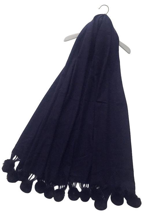 Navy Wool Mix Pom Pom Scarf