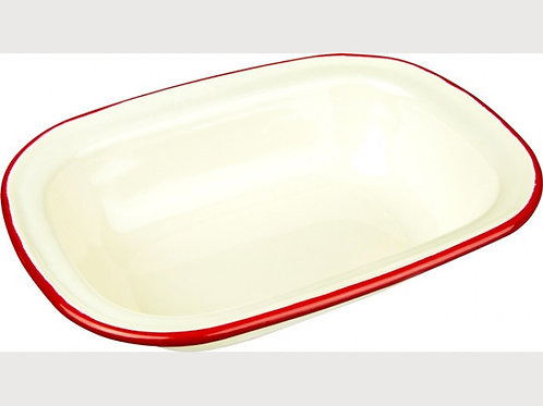 Falcon Red and Cream Oblong Enamel Pie Dishes