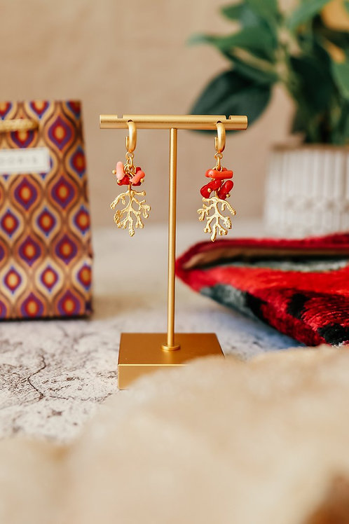 My Doris Gold + Coral Mini Hoops