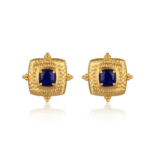 Gold + Lapis Decorative Square Stud Earrings