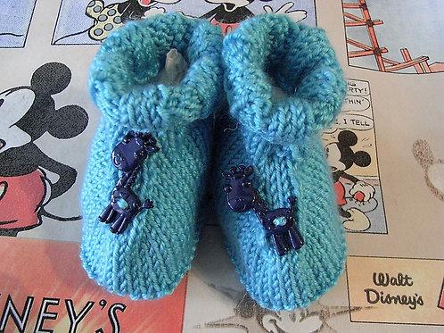 Blue Giraffe Button Baby Bootees