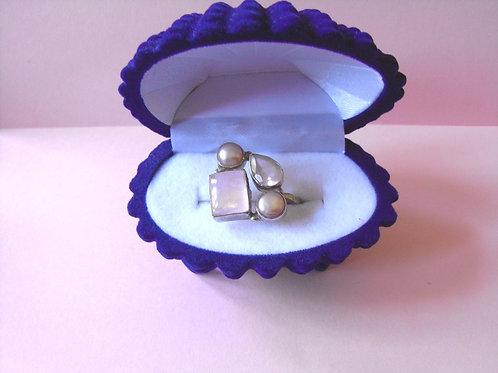 Siren Silver Blush Pink Cluster Ring