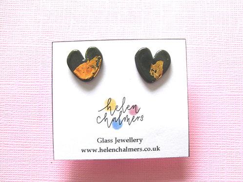 Helen Chalmers Olive Heart Earrings (Design 24)
