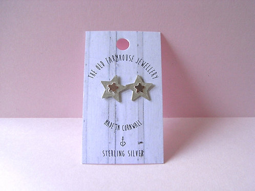 Old Farmhouse Silver Star + Copper Star Stamp Studs