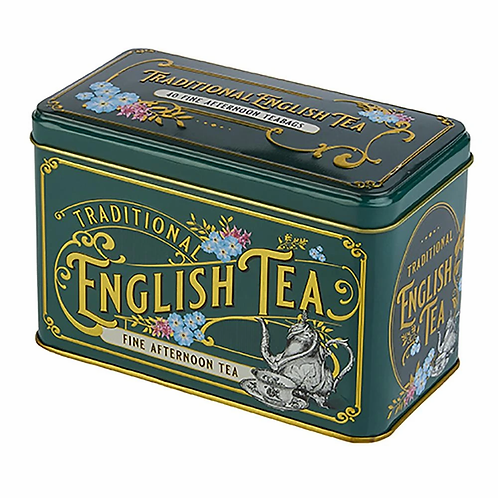 VINTAGE VICTORIAN BOTTLE-GREEN TEA TIN WITH 40 ENGLISH BREAKFAST TEABAGS