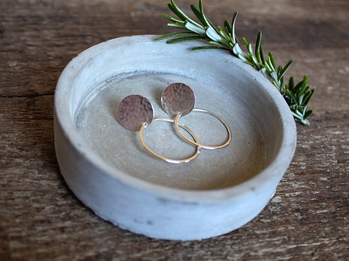 Old Farmhouse Large Disc Studs With Hoop Earrings