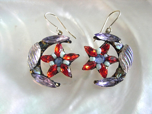 Annie Sherburne Red Crescent Moon & Star Earrings