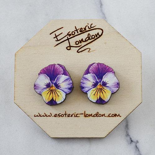 Esoteric Purple/ Lilac/ Yellow Pansy Stud Earrings