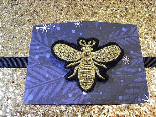 Dolly May Embroidered Gold Bee