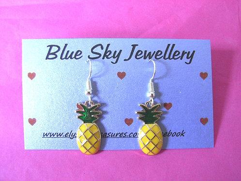 Blue Sky Enamel Pineapple Earrings