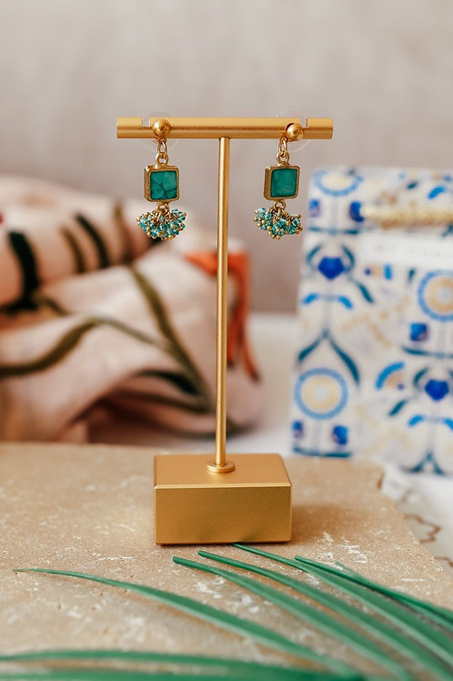 My Doris Turquoise Square Cluster Drop Earrings
