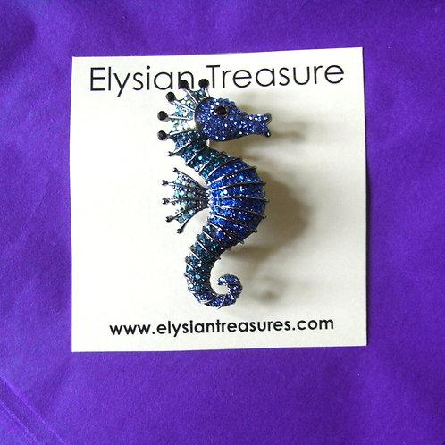 Blue Seahorse Brooch