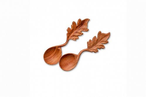 Carved Wooden Leaf Spoon