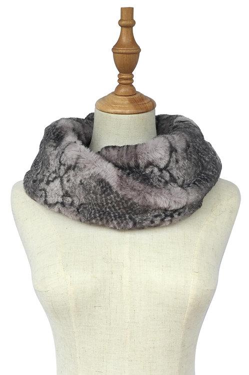 Grey Snakeskin Print Faux Fur Soft Snood