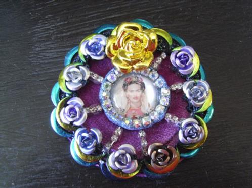 Frida Khalo Blue Rose Brooch