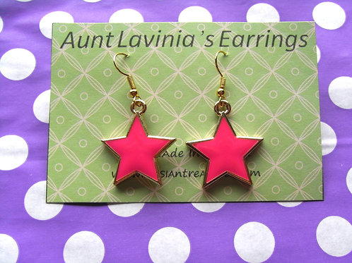 Aunt Lavinia's Pink Enamel Star Earrings