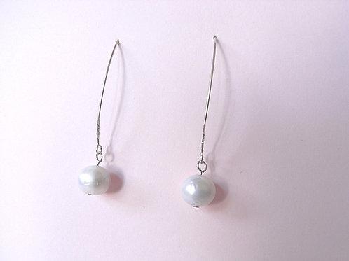 Siren Silver Fresh Water Pearl Loop Earrings