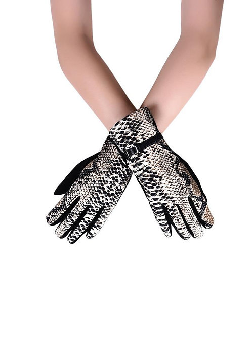 Snakeskin Print & Buckle Touch-Screen Gloves