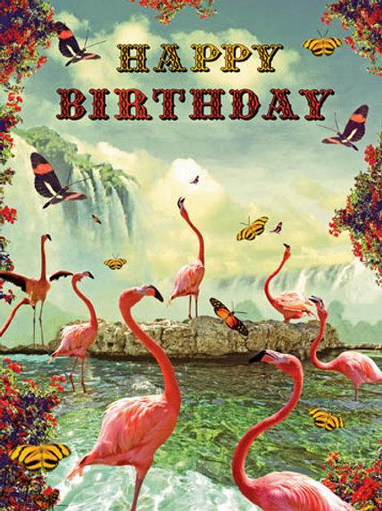 Flamingo's Happy Birthday Card