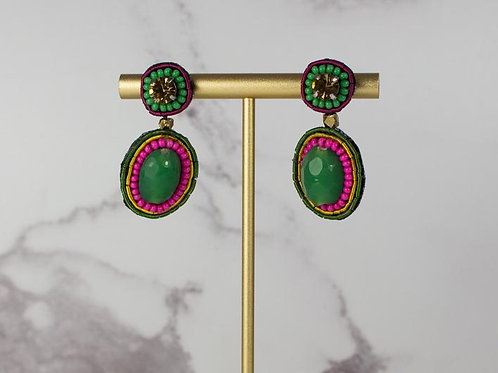 My Doris Green + Pink Beaded Earring
