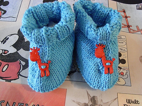 Blue Red Button Giraffe Baby Bootees