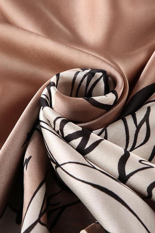 Coffee Rose Silk Scarf   100% Silk