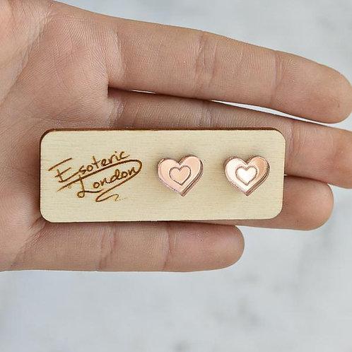 Esoteric Rose Gold Mini Heart Studs
