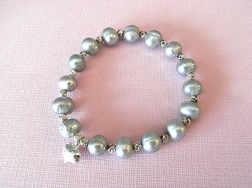 Grey Freshwater Pearl Heart Charm Bracelet