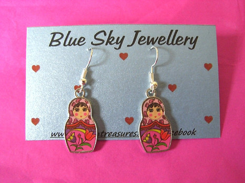 Blue Sky Pink Doll Earrings