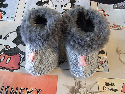 Grey 'Fur Trim' With Teddy Buttons Bootees