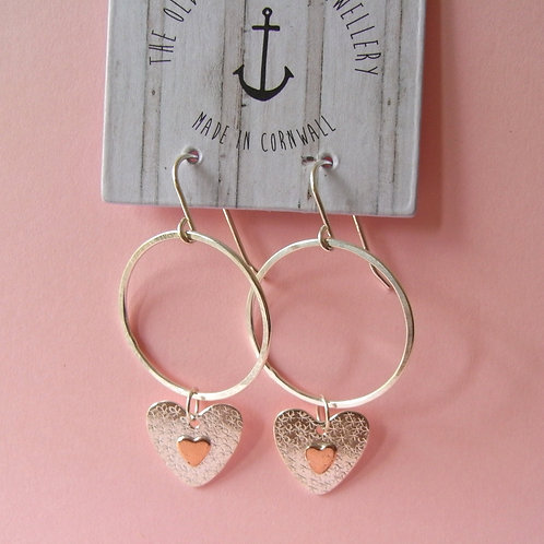 Old Farmhouse Silver Floral Copper Heart Hoops