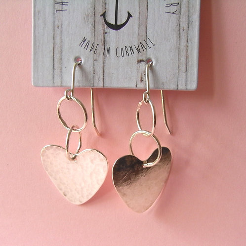Old Farmhouse Silver Link Hammered Heart Earrings