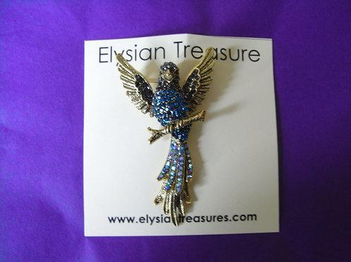 Gold Winged Crystal Bird Brooch