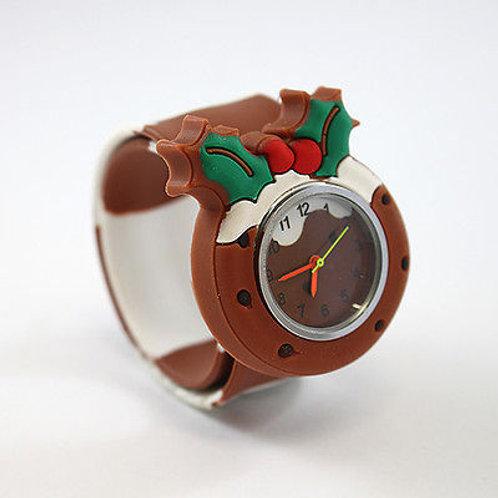 Christmas Pud Popwatch Snap On Slap Watch